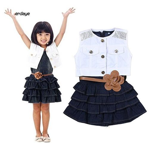 EDYE_Children Girls Summer Ruffle Dress + Vest Jacket + Flower Waist Belt Outfit Suits