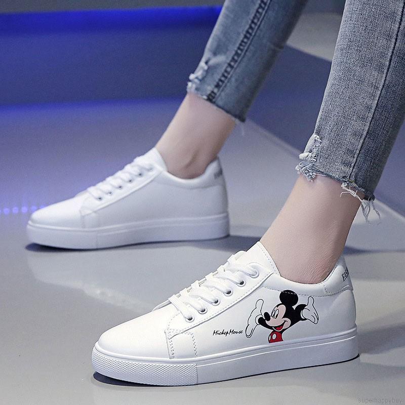Giày Casual Nữ Màu Trắng In Hình Hoạt Hình Thời Trang Thoải Mái
