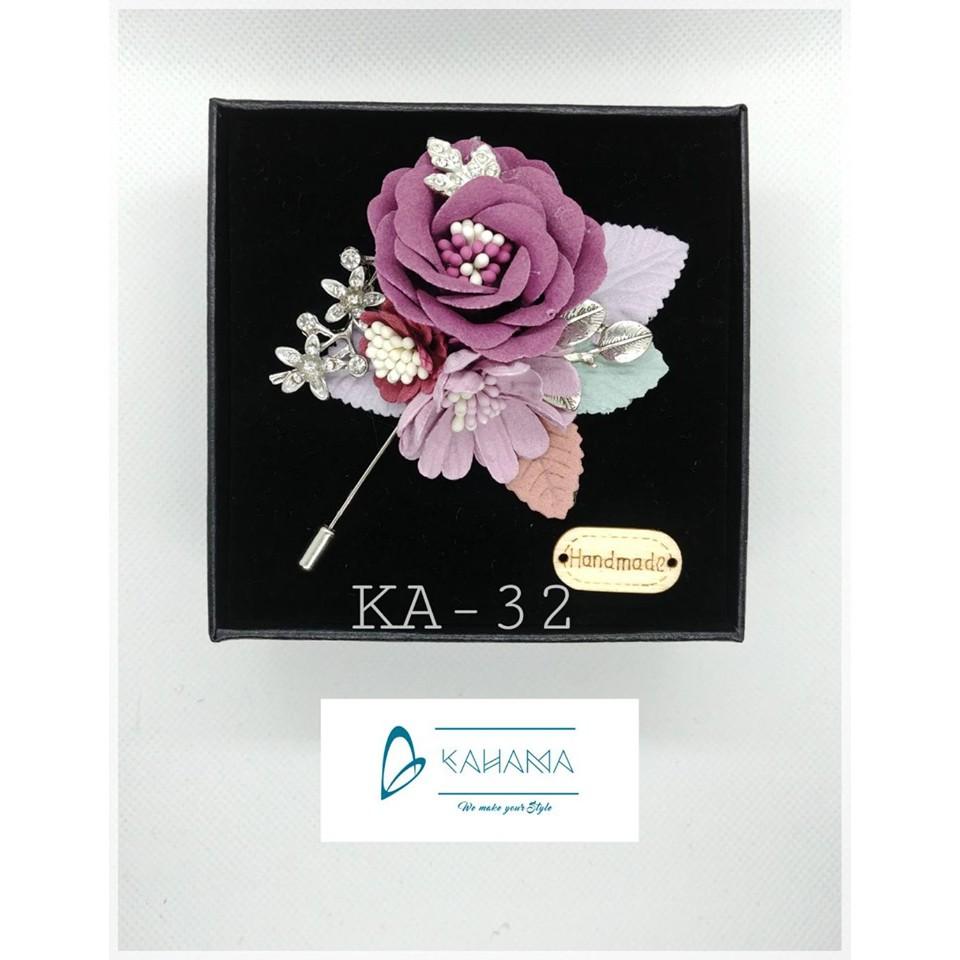 Cài áo hoa vải thô đính cành đá handmade - Mã KA32