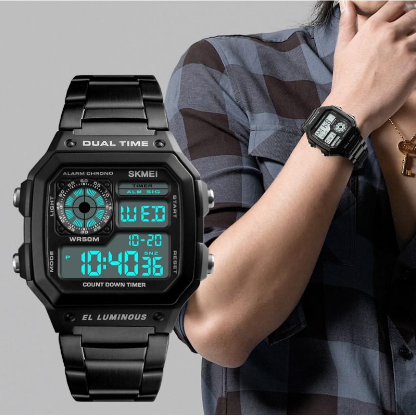 Đồng hồ nam chính hãng cao cấp SKMEI tuyệt đẹp, mặt vuông thể thao, chống nước tốt, dây thép đúc ( Mã: ASK