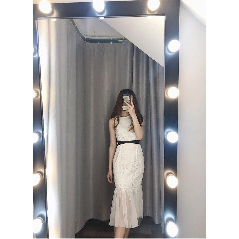 Đầm Xòe Phối Ren Cột Eo Sang Chảnh
