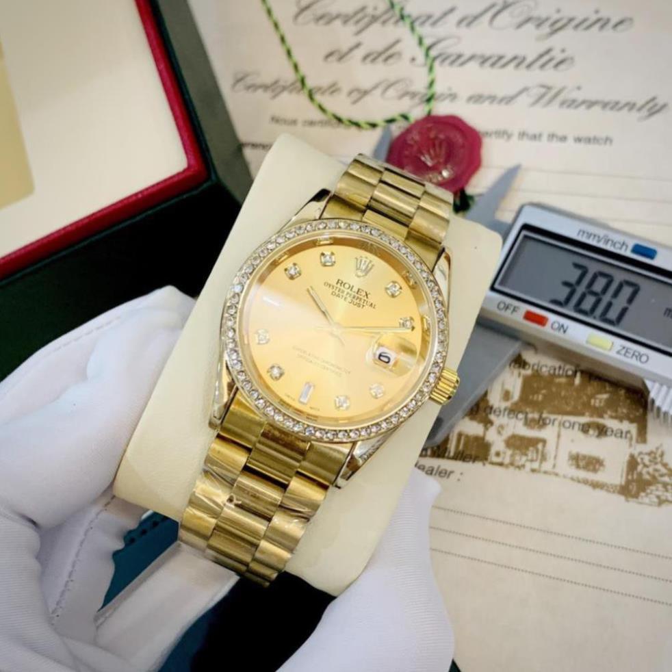 (Thẻ bảo hành 12 tháng) Đồng hồ nam Rolex - viền đá dây kim loại chống nước -rolex.vienda