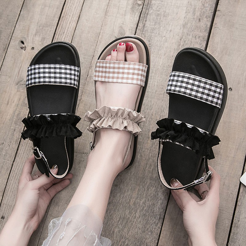 Student thick-soled platform shoes retro flat sandals and slippers women