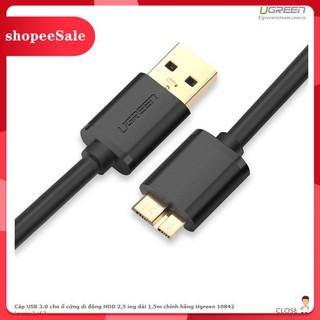 (Hàng Mới Về) Dây ổ cứng di động Chất lượng cao SSD Hdd box Usb 3.0 to Micro B chân dẹt đực Hàng bóc máy Hàng Ugreen thumbnail