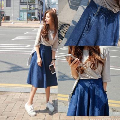 Chân váy jean phong cách vintage