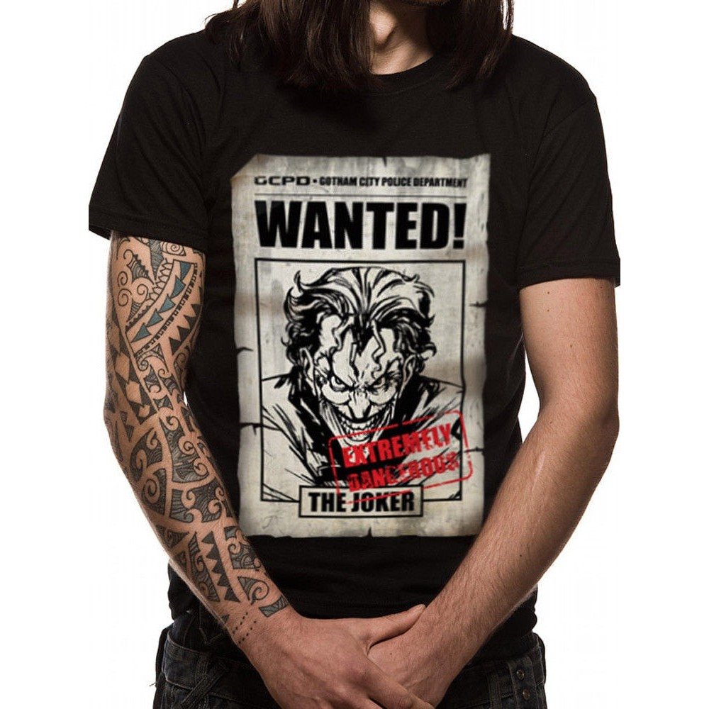 Joker Wanted Poster Arkham Asylum Gotham Officiel Dc Comics Noir Men'T-Shirt Father's Day Gift