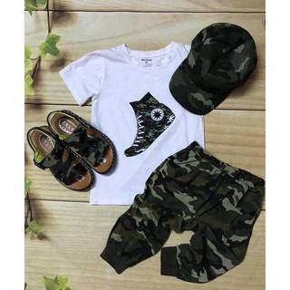 🎯Set bộ lính kèm mũ cho bé - set rằn ri 3 chi tiết áo, quần, mũ cho bé trai bé gái🎯