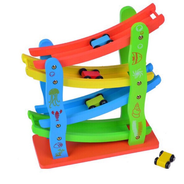 Đồ chơi xe cầu trượt 4 tầng kèm 4 xe oto cho bé