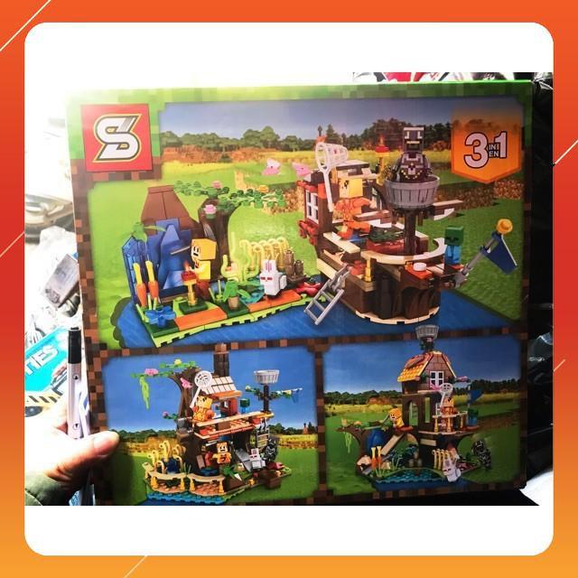 [Siêu Sock] Lego xếp hình minecraft my world 3 in 1 ngôi nhà