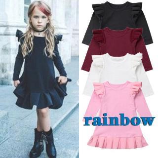 ☎POP❤Kids Baby Girl Flying Sleeve Ruffle Princess Party Formal Dress 1-6Y