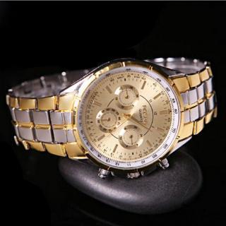 Đồng hồ đeo tay ba mắt sáu kim bằng thép không gỉ thời trang cho nam
