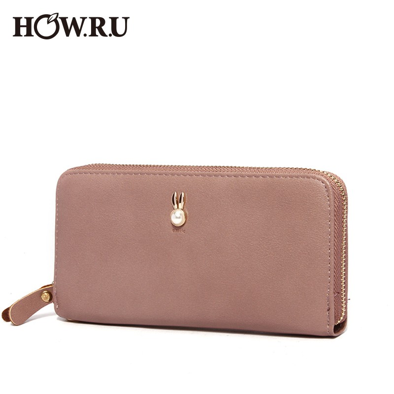 Long fashion zipper wallet Korean version of the cute solid color letter card holder Clutch