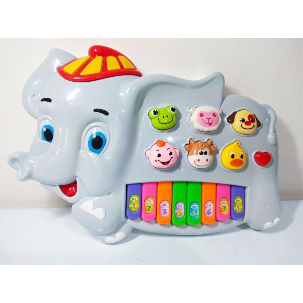 Đàn đồ chơi hình con voi cho bé, đàn mini gồm mô phỏng tiếng động của các con vật dễ thương và của em bé.