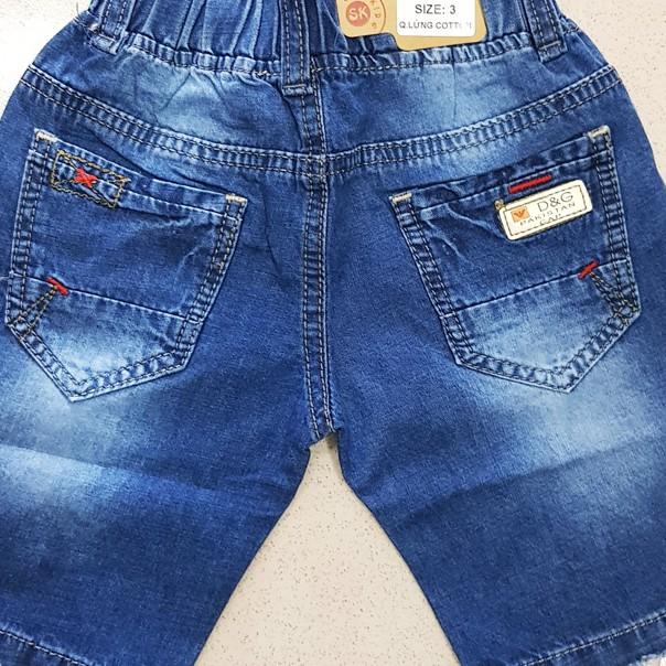 Quần lửng jean cotton bé trai phối rách