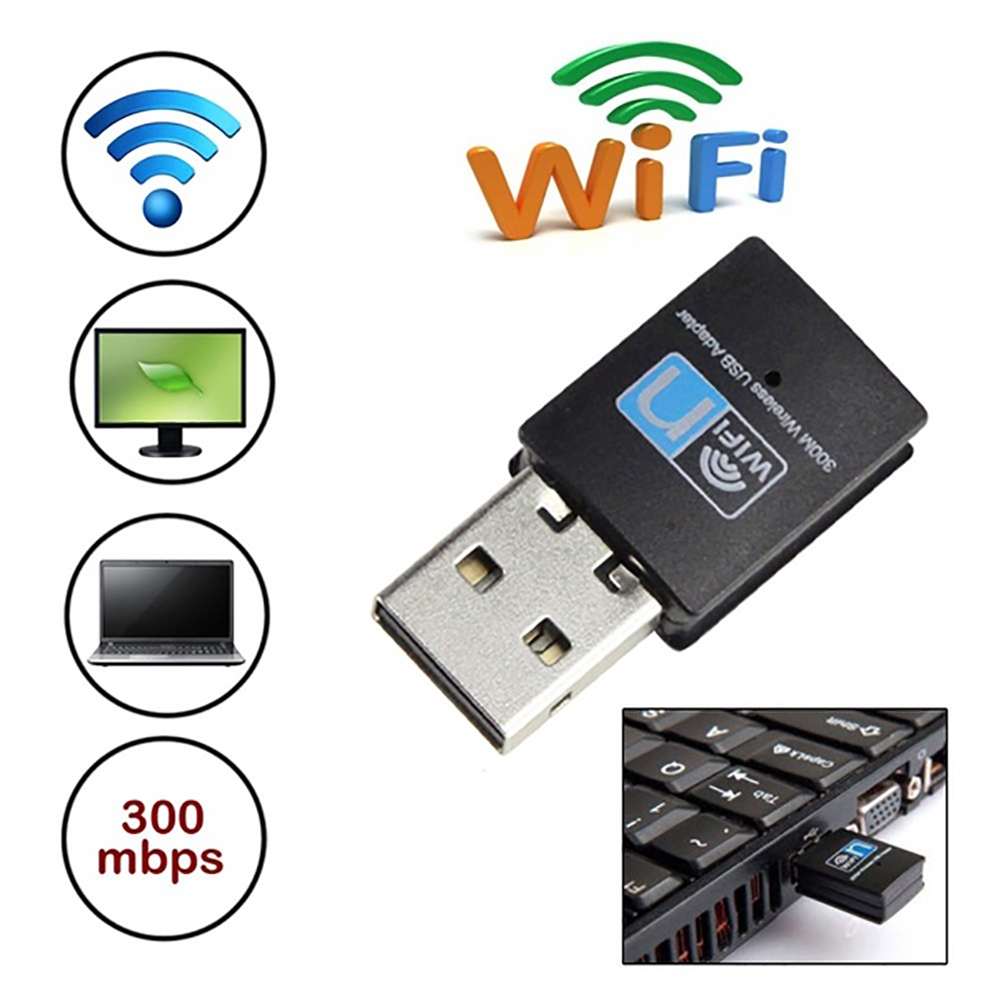 Mini WiFi WLAN Wireless Adapter USB 2.0 Stick Dongle 300 Mbit IEEE 802.11 b/g/n
