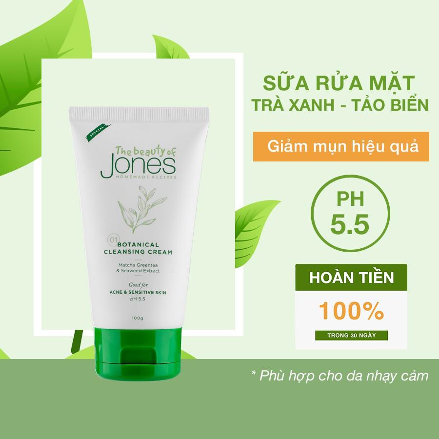 Sữa rửa mặt da mụn nhạy cảm từ trà xanh tảo biển The Beauty of Jones