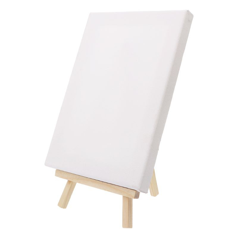 UTH Mini Canvas And Natural Wood Easel Set For Art Painting