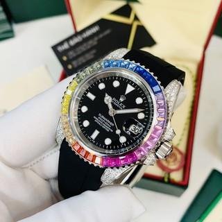 Đồng hồ nam Rolex máy cơ mặt tròn đính đá ngũ sắc, dây cao su chống nước cao cấp DH544 - Shop306 thumbnail