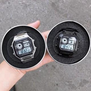 (Thẻ bảo hành 12 tháng) Đồng hồ nam Casio AE 1200-WHD classic chống nước , dây thép không gỉ (dây bạc mặt đen)