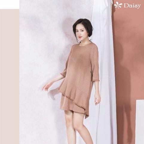 Váy suông tà chéo can vải tua - 201221