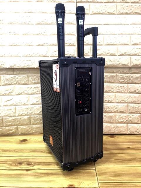 LOA KÉO KARAOKE JBZ NE109 loại 3 tấc và loa kẹo kéo kèm 2 mic không dây chất liện bằng gỗ với bình ác quy trong loa