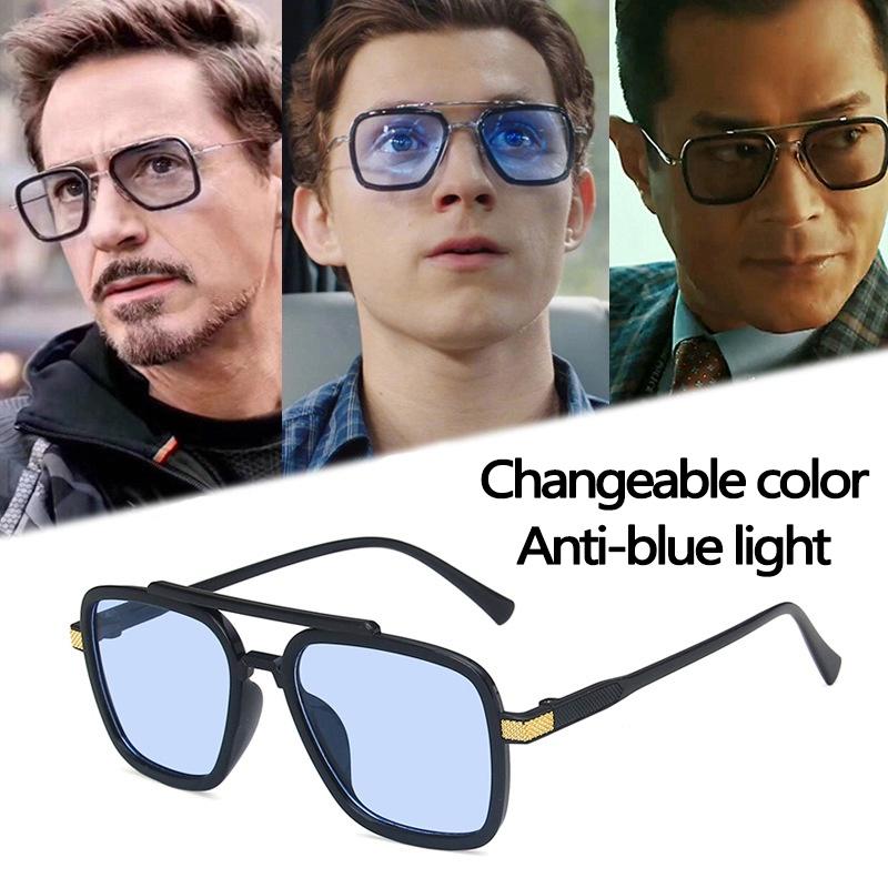 Aesthetic Shades Sunglasses Avengers Tony Stark Flight Style For Men's Sunglasses Men's Square Brand Design Sun Glasses Iron Man