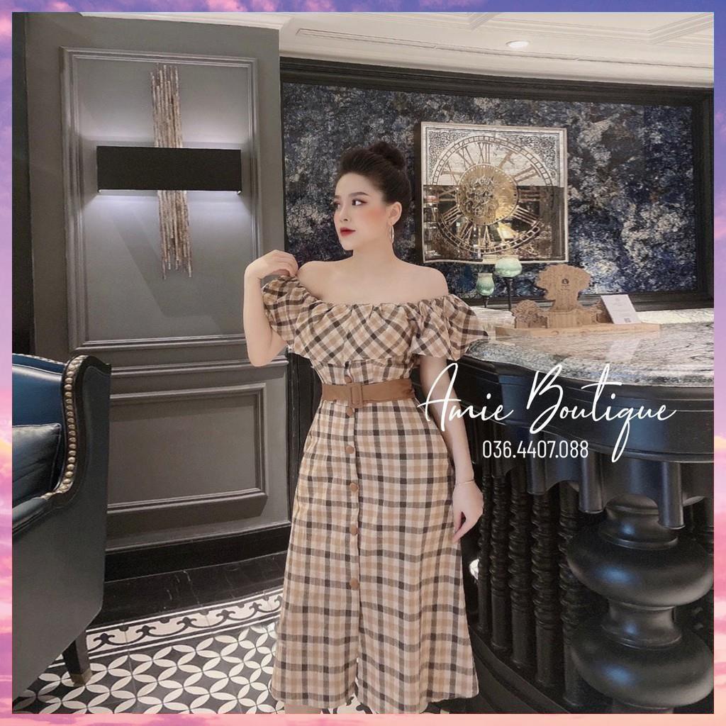 Váy Nữ Đầm Nữ Kẻ Caro Phối Trễ Vai Bánh Bèo Dáng Ôm Chất Thô Cotton Màu Nâu, Đỏ, Vàng, Cam