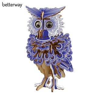 ☀3D Wooden Owl DIY Model Puzzle Jigsaw Wood Craft Toy