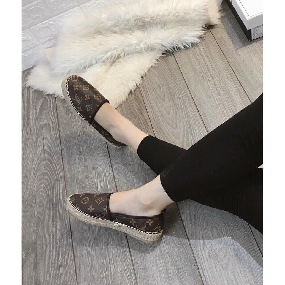 Giày LV đế cói màu nâu tây siê