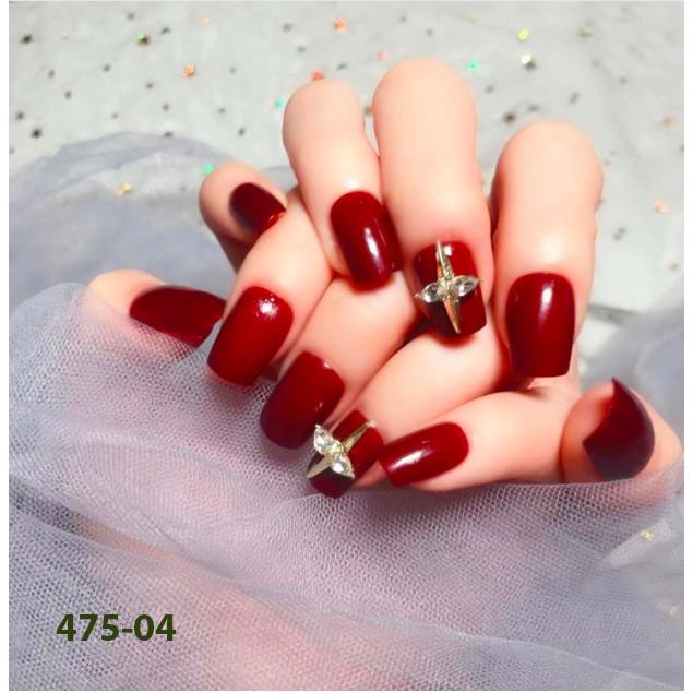 Móng tay giả dài ngắn  đính đá giá rẻ đẹp dành cho nữ gồm 24 móng