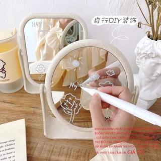 Gương trang điểm để bàn xoay 2 mặt chất liệu lúa mạch xịn đẹp Gương trang điểm để bàn
