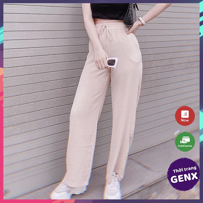 [Mã FAMAYWA giảm 10K đơn 50K] Quần ống rộng nữ lưng cao, quần đũi nữ ống rộng không nhăn mềm mịn thoáng mát - GENX15