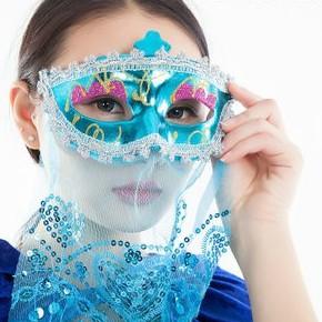 Mặt nạ nửa mặt có rèm che màu XANH phong cách nữ nhân anh hùng phim kjếm hiệp cổ trang dùng cho sự kiện,lễ hội