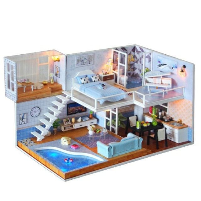 Bộ mô hình lắp ghép DIY – Ngôi nhà búp bê bể bơi (tặng mica, keo dán)