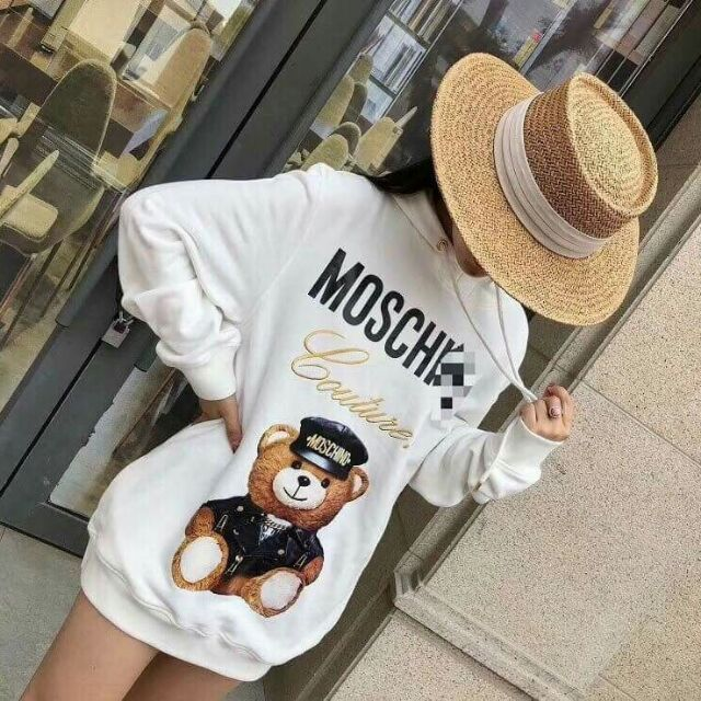 Váy hoodie mũ gấu Moschino