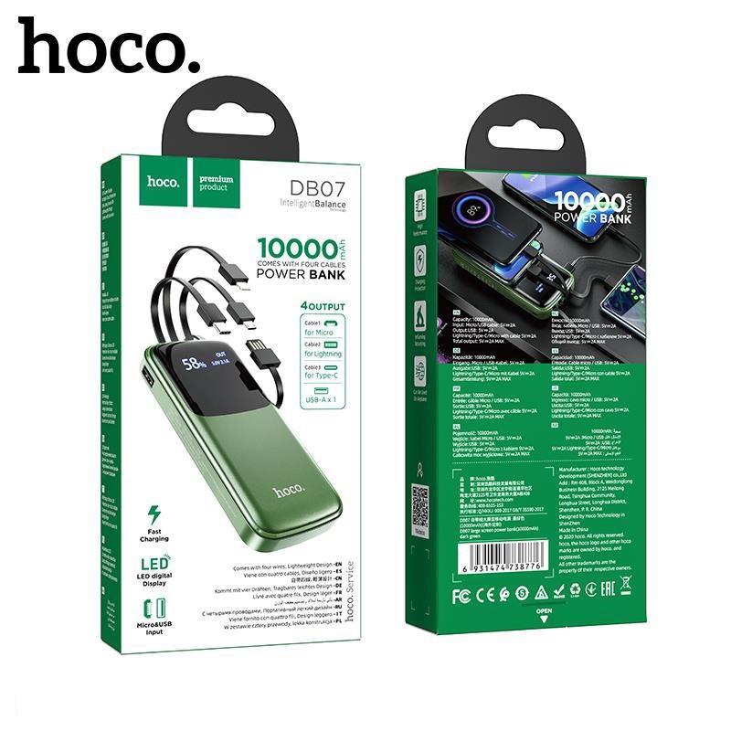 Sạc dự phòng 10000mah  Hoco DB07 tích hợp sẵn dây tiện lợi lightning type micro - hàng chính hãng