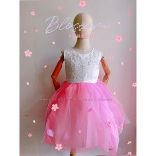 Đầm sát nách tiểu thư công chúa cao cấp, dạ hội, dự tiệc, bé gái voan phối lưới kết ren thêu hoa, size T2,T4,T6,T8
