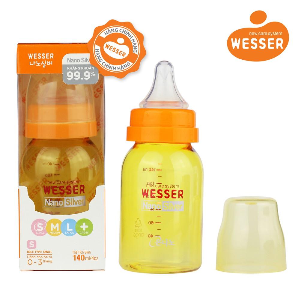 Bình sữa Wesser Nano Silver cổ hẹp 140ml ( Màu vàng) - 3054396 , 245291322 , 322_245291322 , 127000 , Binh-sua-Wesser-Nano-Silver-co-hep-140ml-Mau-vang-322_245291322 , shopee.vn , Bình sữa Wesser Nano Silver cổ hẹp 140ml ( Màu vàng)
