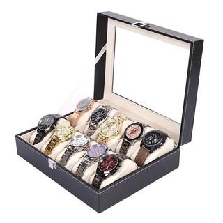 Hộp đựng đồng hồFREESHIPHộp đựng đồng hồ 10 ngăn, có khóa chố bảo vệ, bề mặt trên có lớp nhựa kính 8748