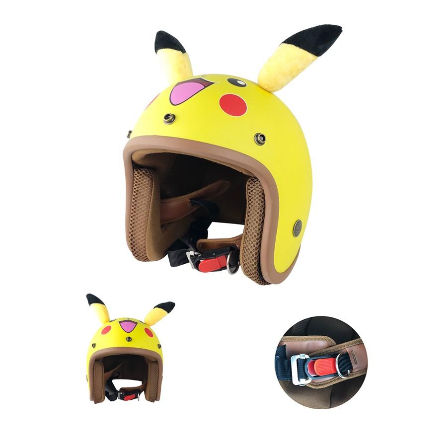 Mũ bảo hiểm hình thú Pikachu Vàng Có Tai