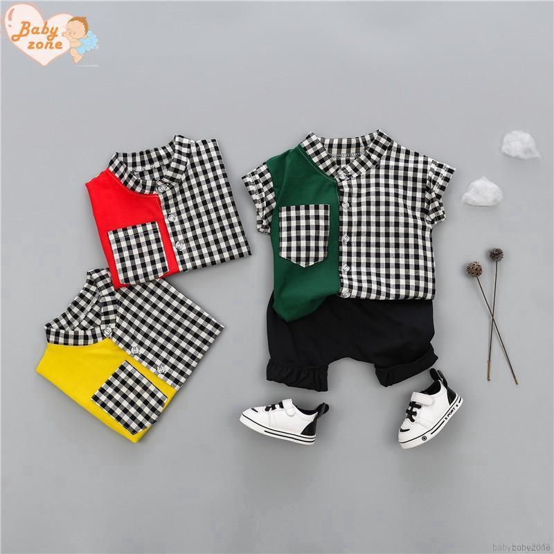 Bộ áo thun cộc tay kẻ ca rô + quần ngắn cho bé