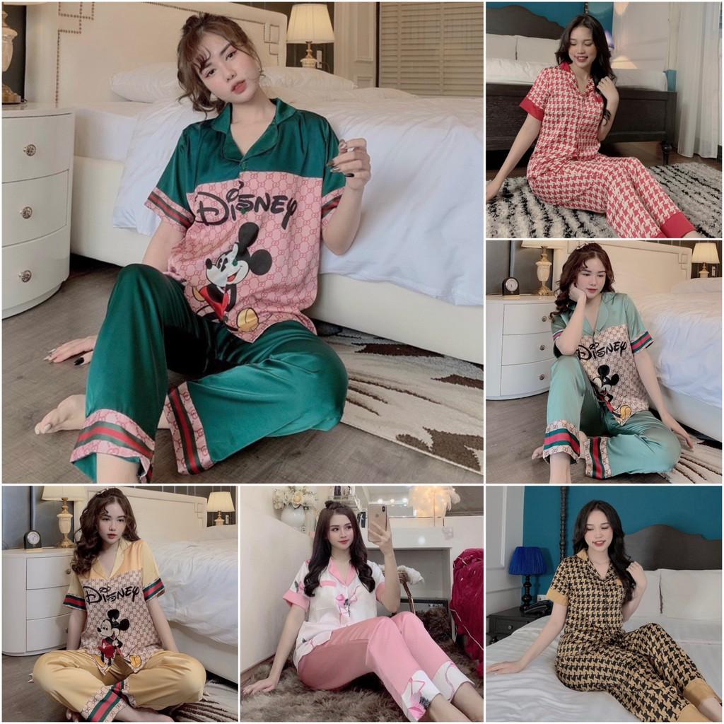 Mặc gì đẹp: Mát mẻ với [Siêu Hot] Bộ đồ Pijama lụa💖Bộ lụa thiết kế Cộc Dài Họa tiết chất liệu mát lịm[HÀNG ĐẸP CHUẨN] [ẢNH THẬT +VIDEO]