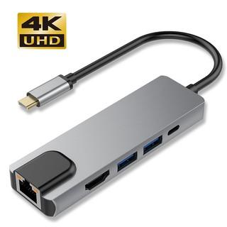 [Mã ELMS05 giảm 5% đơn 300K] Cáp chuyển đổi Type c to HDMI, LAN, USB 3.0, USB C 5in1 vỏ nhôm cao cấp