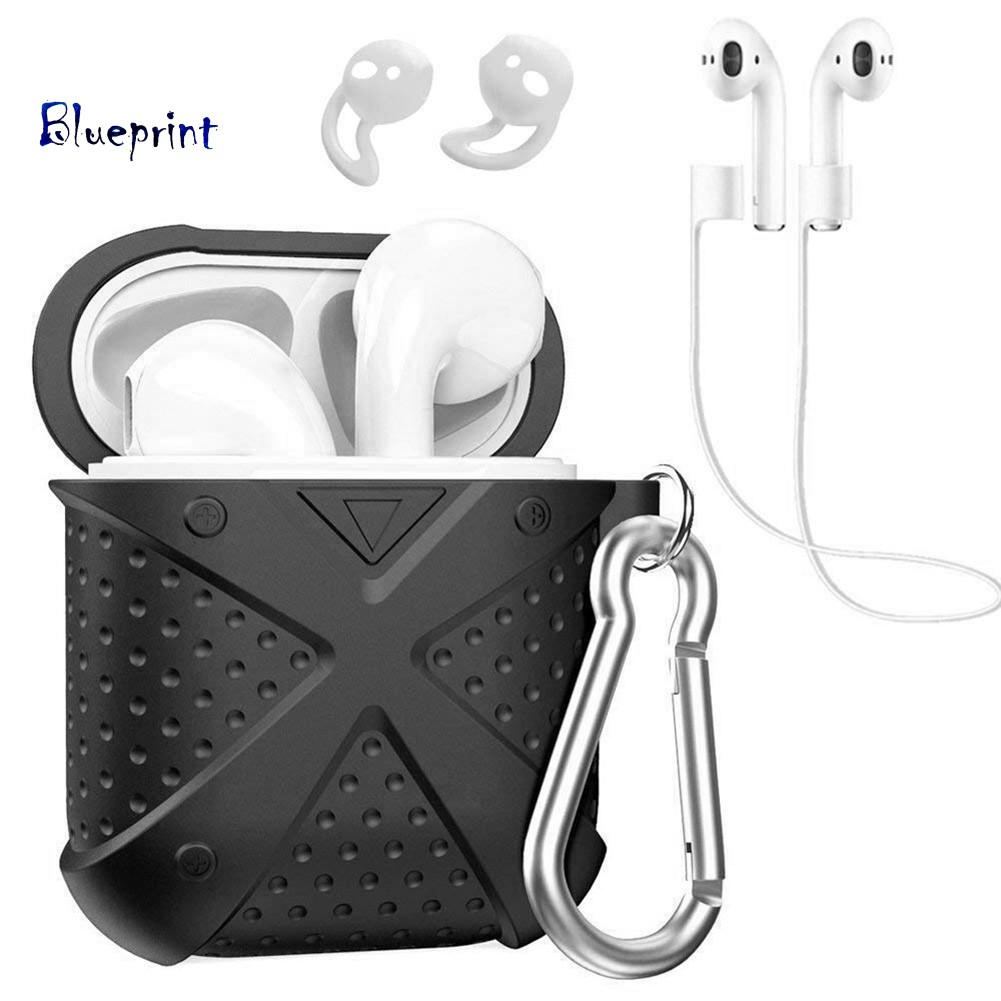 ☞BPSoft Silicone Protector Case Ear Cap Anti-loss Lanyard Set for Apple AirPods 1/2