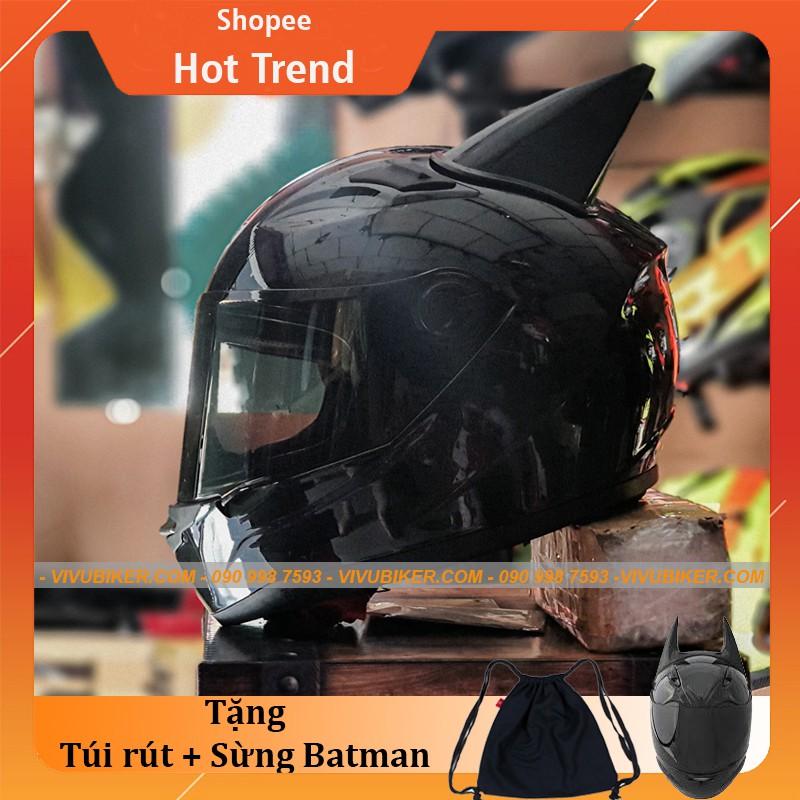 Mũ bảo hiểm Fullface AGU đen bóng kính đen tặng kèm sừng BATMAN đen - Nón bảo hiểm fullface đen nhám