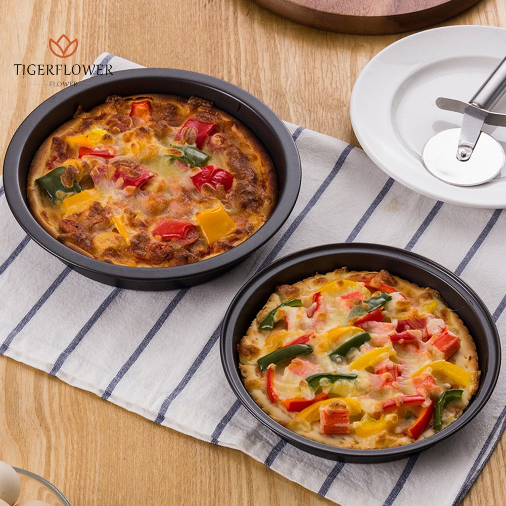 2Pcs Round Home Kitchen Baking Tool Pizza Pan Container
