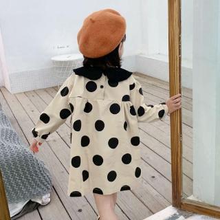 Đầm Tay Dài Họa Tiết Chấm Bi Thời Trang Cho Bé Gái