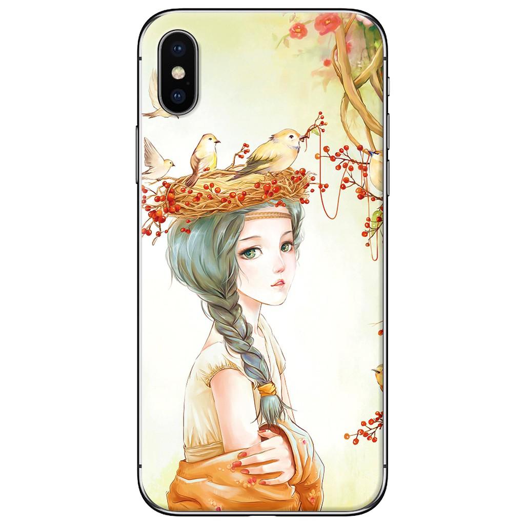 Ốp lưng iPhone X - nhựa dẻo Em họa mi