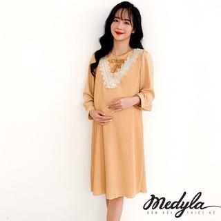 MEDYLA - Váy bầu công sở 2 lớp lụa dập ly lót lụa cúc cài sau - V338 thumbnail