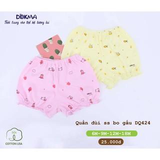 Quần đùi bo gấu bé gái DOKMA, quần sơ sinh cotton mềm mịn